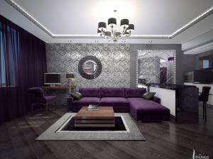 Гостиная арт-деко квартира