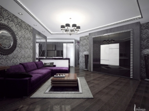 Гостиная в арт-деко квартира для молодой пары