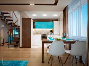Дизайн интерьера кухни-гостиной в таунхаусе