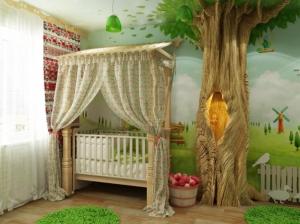 кроватка детской комнаты в русском стиле