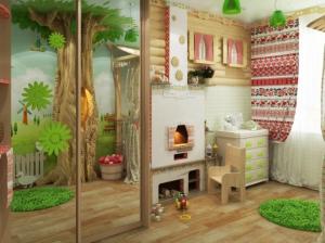 печь и шкаф детской комнаты в русском стиле