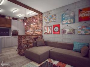 Дизайн интерьера гостиной в стиле лофт