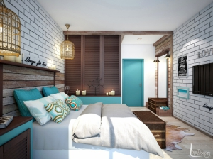 Интерьер спальни лофт