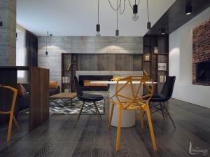 Дизайн интерьера гостиной современный лофт
