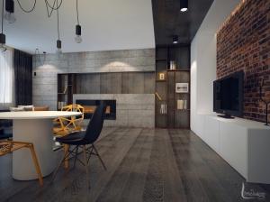 Интерьер квартиры-студии лофт