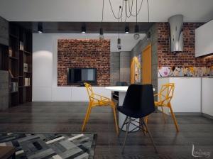 Дизайн интерьера кухни квартиры-студии лофт