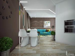 интерьер гостиной и кухни лофт