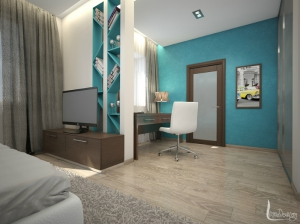 интерьер спальни с бирюзовым вход