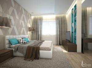 интерьер спальни с бирюзовым