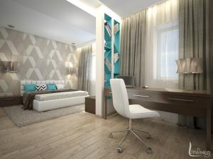 дизайн интерьера спальни с бирюзовым