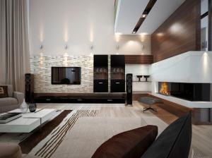 гостиная коттеджа в современном стиле