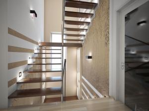 интерьер лестницы коттеджа в современном стиле