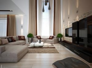 Пример дизайна интерьера коттеджа