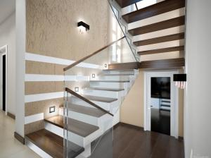 лестница коттеджа в современном стиле