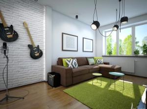 интерьер гостиной квартиры в скандинавском стиле