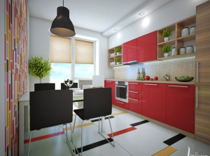 вариант кухни квартиры в скандинавском стиле