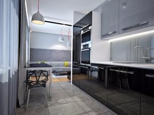 интерьер кухни в современном стиле однокомнатной квартиры