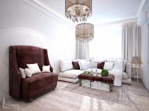 Гостиная квартиры в романтическом стиле