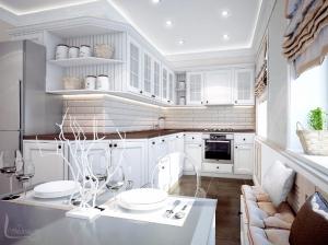 Интерьер кухни квартиры в романтическом стиле