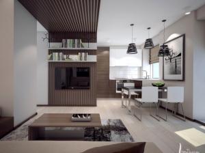 Интерьер обеденной зоны квартиры-студии