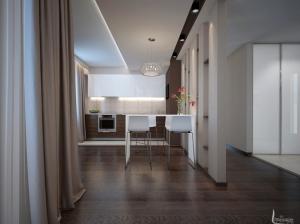 современный интерьер гостиная+кухня квартира