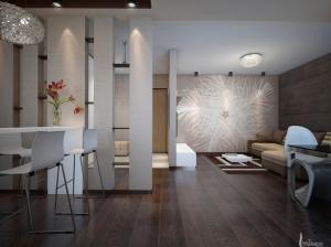 современный интерьер кухня гостиная квартира