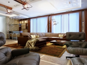 гостиная+бар современный стиль коттедж