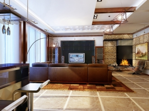 гостиная современный стиль коттедж