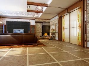 современный стиль коттедж гостиная