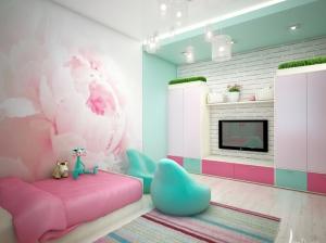 бирюзовый интерьер спальни для девочки