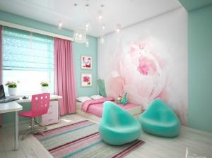 интерьер спальни для девочки бирюзовый