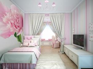 розовый интерьеры спальни для девочек