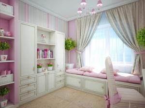 рабочая зона интерьера спальни для девочки