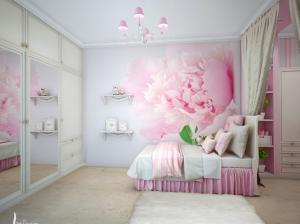 интерьеры спальни для девочек розовый