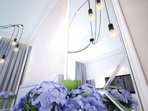Интерьер спальни в сложном цвете